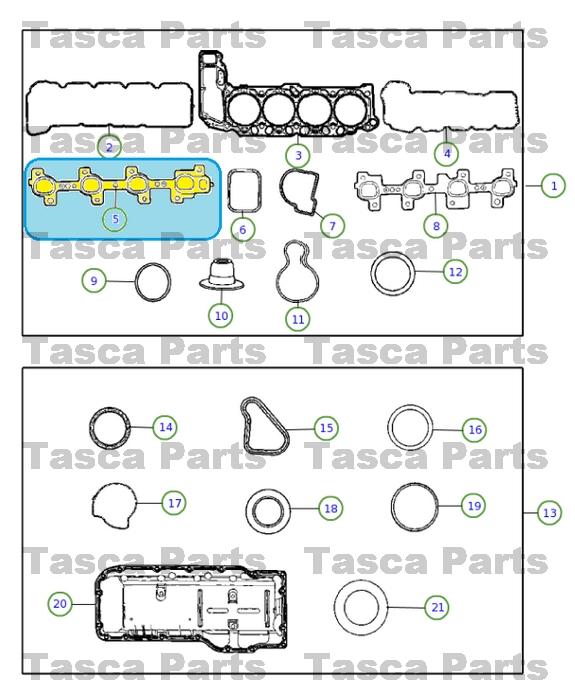 NEW OEM MOPAR LEFT SIDE LH EXHAUST MANIFOLD GASKET 2007 DODGE CHRYSLER JEEP 4.7L
