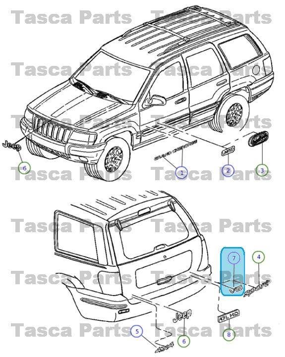 NEW OEM MOPAR BRIGHT V8 LIFTGATE BADGE EMBLEM 2000-2004