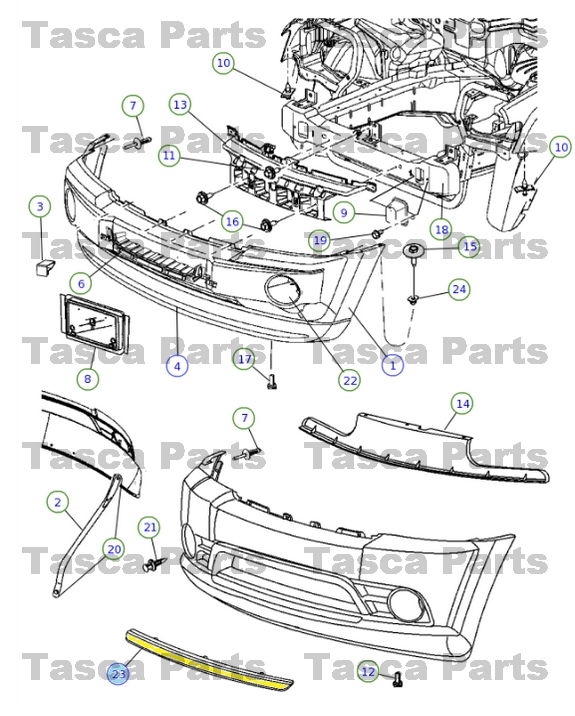 oem mopar front bumper fascia applique 2008-2010 jeep ... 2008 jeep grand cherokee parts diagram