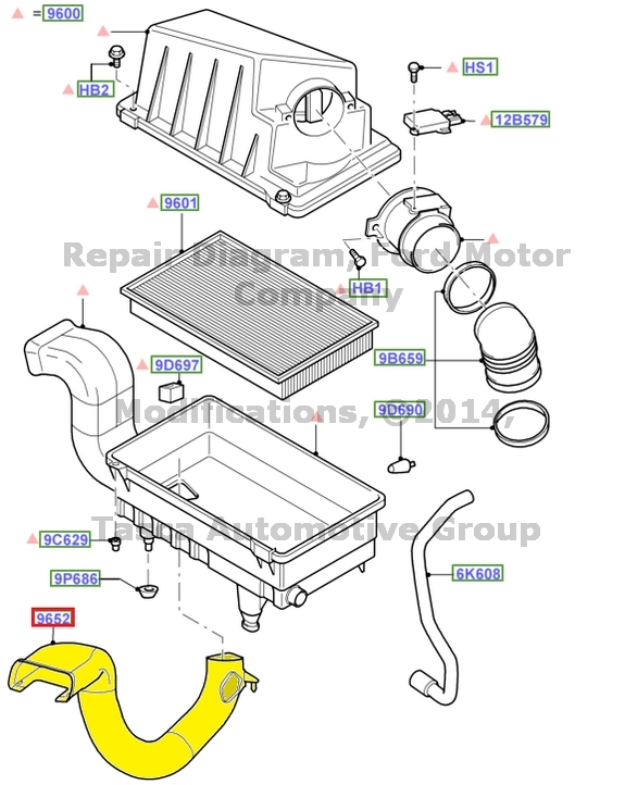 OEM ENGINE AIR FILTER INTAKE HOSE 2 0L V4 ENGINE 2002-2013 FORD FOCUSV4 Engine Diagram
