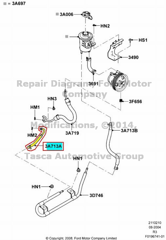 new oem power steering gear to cooler hose 2006
