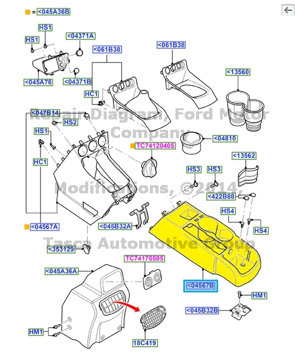 service manual  2010 ford transit connect center concole