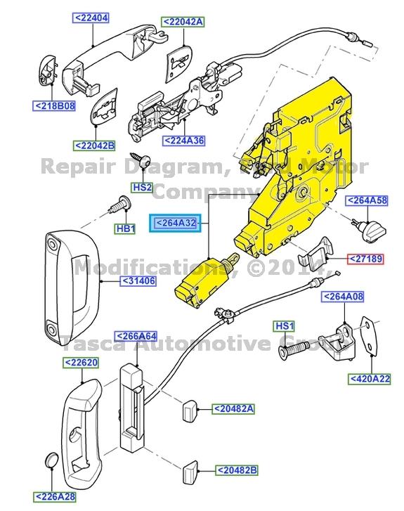 NEW OEM RH REAR DOOR LATCH 2010-2013 FORD TRANSIT CONNECT W//MANUAL DOOR LOCKS