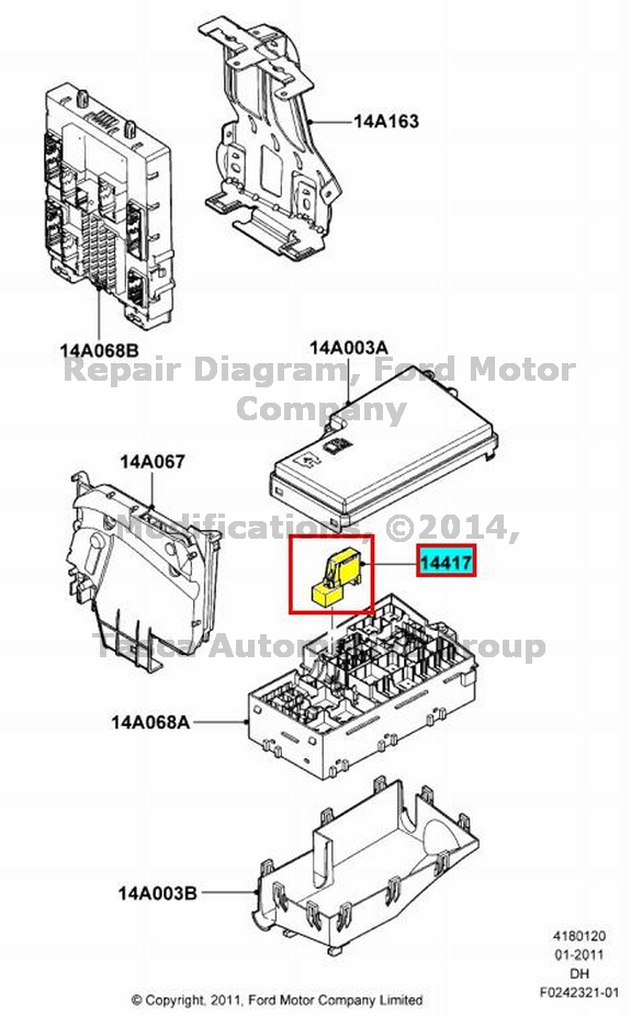 brand new oem auxiliary relay box fuse holder 2012 13 ford. Black Bedroom Furniture Sets. Home Design Ideas