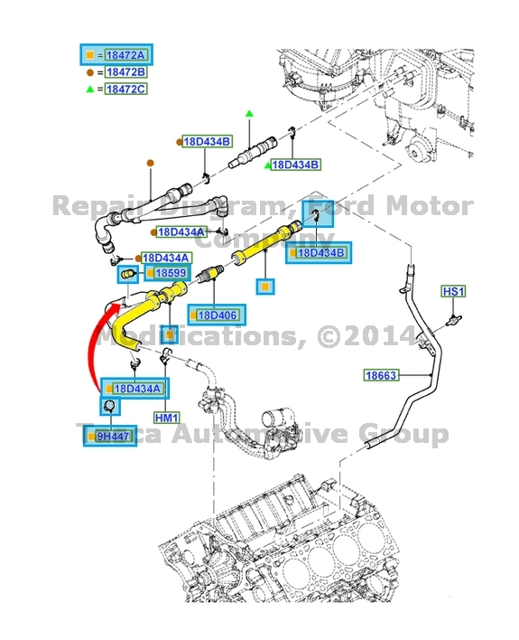 Brand New Oem Heater Core Inlet Hose 2011 2013 Lincoln