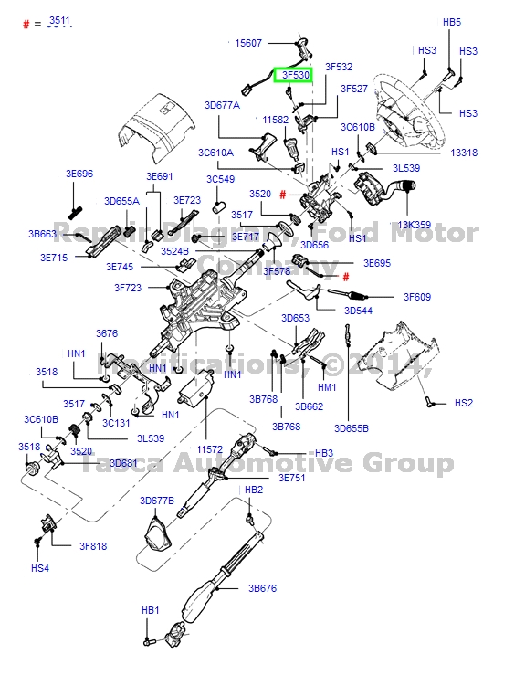 brand new oem steering column flange pin 1990 2011 ford. Black Bedroom Furniture Sets. Home Design Ideas