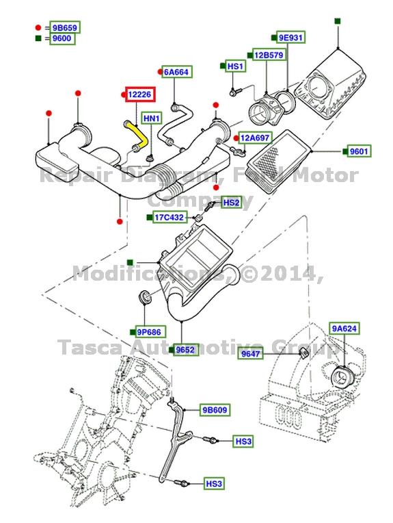 new oem engine air cleaner box vacuum hose 3 9l 2000 2002. Black Bedroom Furniture Sets. Home Design Ideas