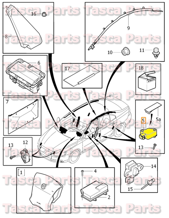 volvo s80 airbag module location
