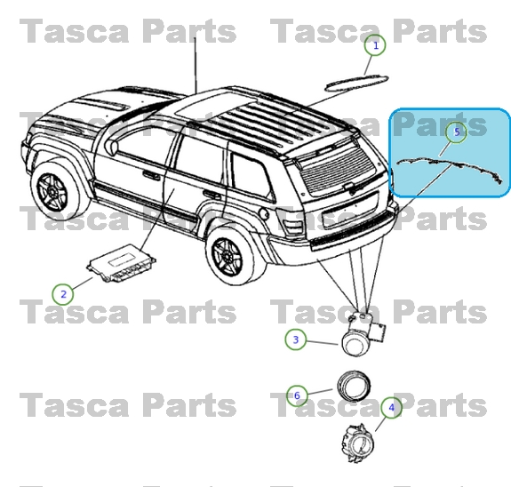 Trailer Wiring Harness For 2005 Jeep Grand Cherokee : New oem mopar rear park assist wiring harness