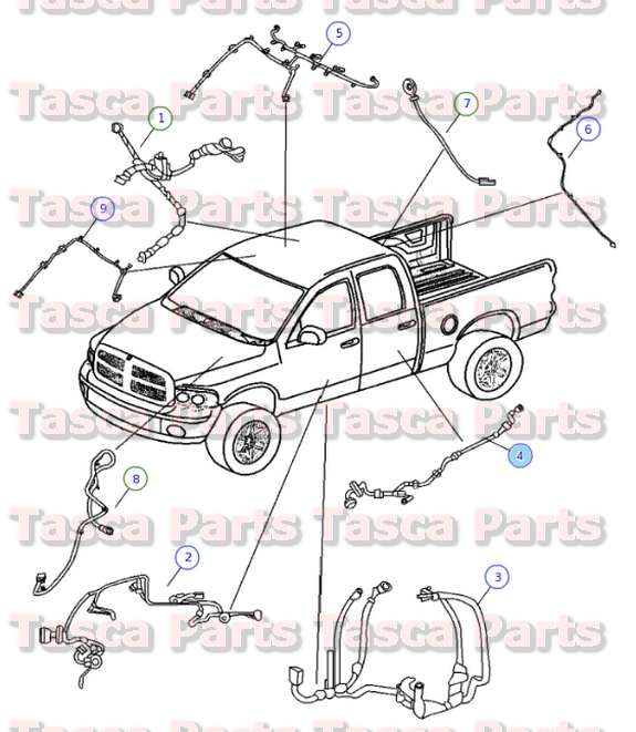 2 new oem mopar rh or lh rear door wiring harness dodge ram 1500 Dodge Transmission Wiring Harness at gsmx.co