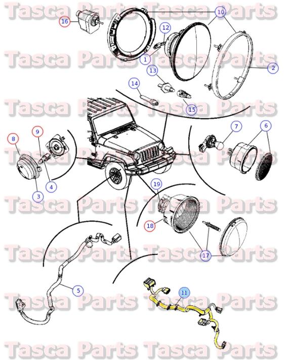 new oem headlight wiring harness 2009 2010 jeep wrangler w. Black Bedroom Furniture Sets. Home Design Ideas