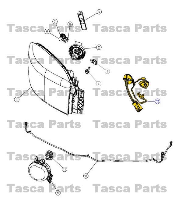 new oem mopar headlight wiring harness 2009 2014 dodge ram. Black Bedroom Furniture Sets. Home Design Ideas