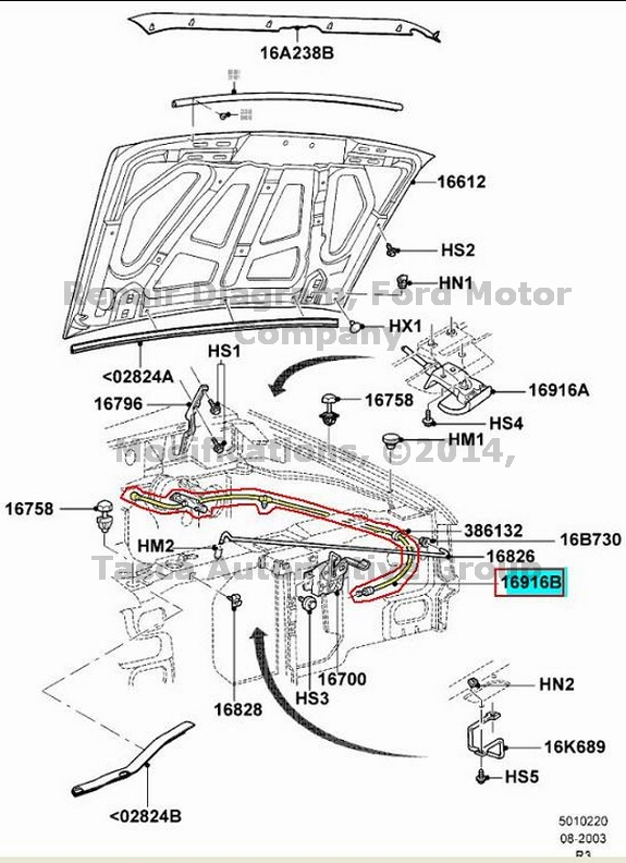 BRAND NEW OEM HOOD CONTROL CABLE & HANDLE FORD RANGER