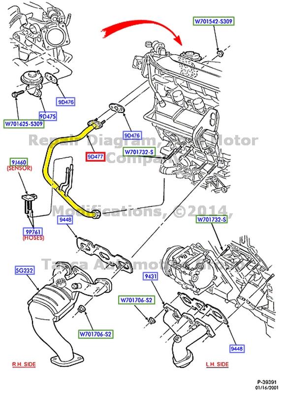 New Oem Egr Valve To Exhaust Manifold Tube 2003 Ford Taurus Mercury. Mercury. 2002 Mercury Sable Intake Manifold Diagram At Scoala.co