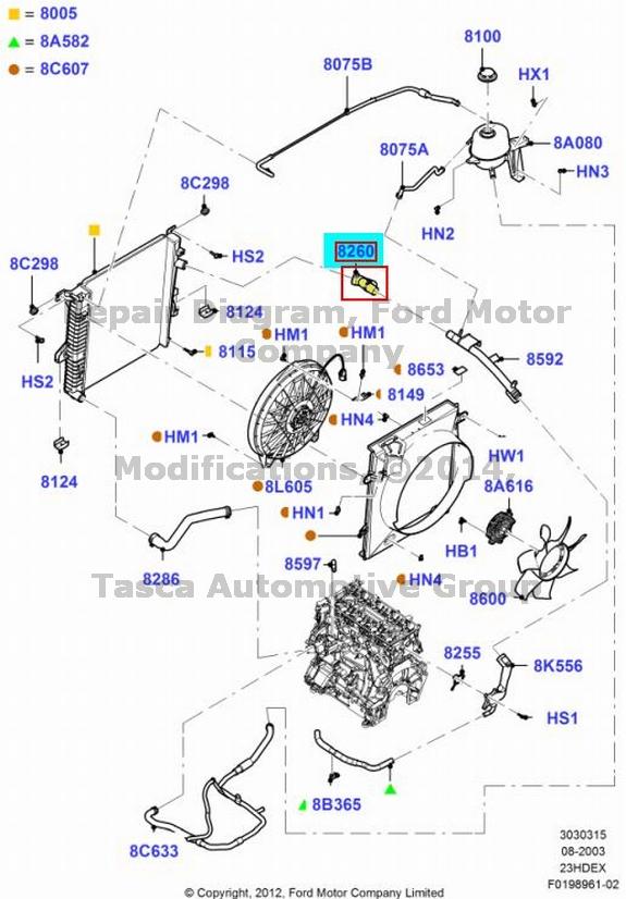 brand new oem upper radiator hose 2002-2011 ford ranger 2 3l i-4