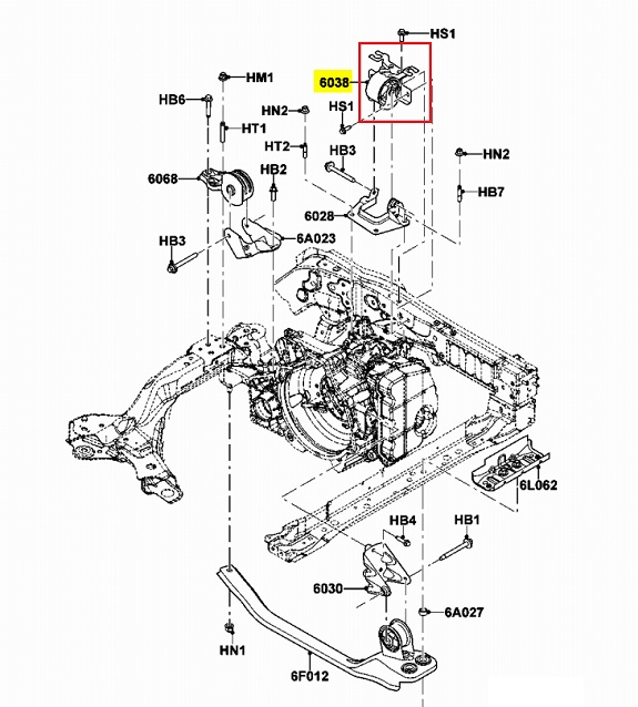 ford escape motor mount diagram