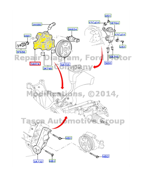 Ford Oem Power Steering Pump 6 W 4 Z 3 A 696 B