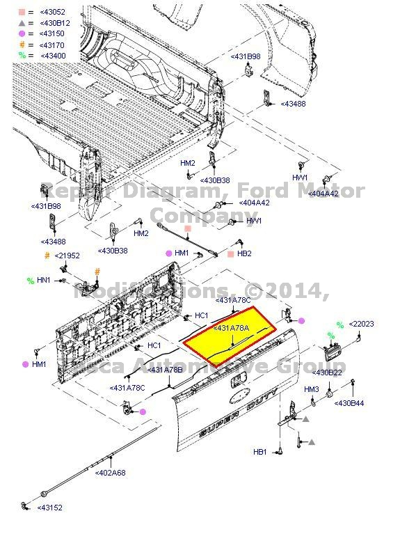 ford f350 tailgate parts diagram