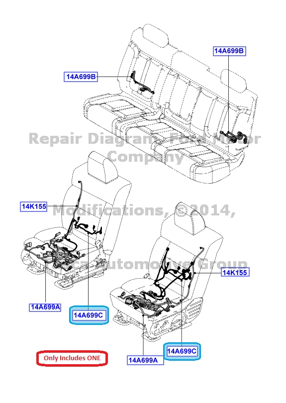 new oem front heated seat back wiring jumper harness ford flex explorer f150