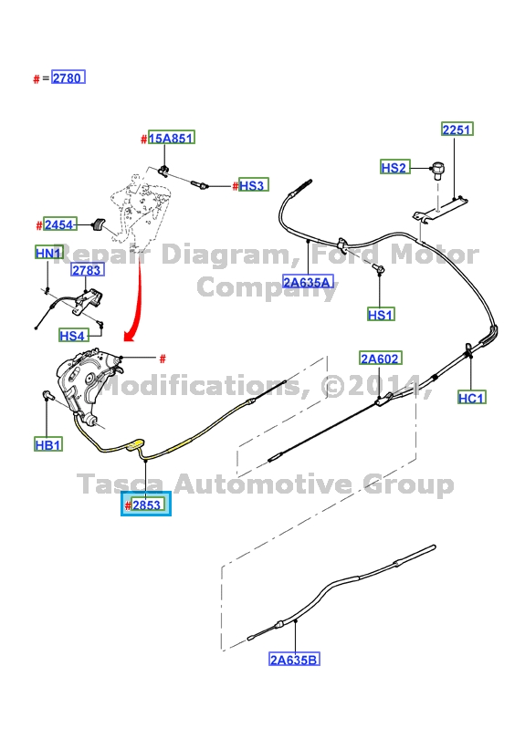 brand new oem parking brake control cable 2009