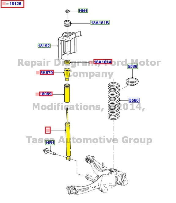 2016 Lincoln Mks Suspension: NEW OEM REAR SHOCK ABSORBER W/ UPSIZED REAR STABILIZER BAR