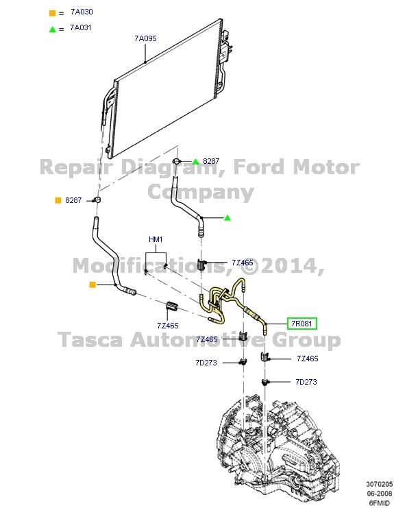 Ford Oem Transmission Oil Cooler Lines Cooler Pipe Al8z7r081a For