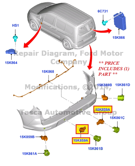 NEW-OEM-OUTTER-FRONT-PARKING-AID-SENSOR-2012-2013-FORD-FOCUS-AM5Z-15K859-AAPTM