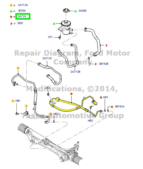 NEW OEM POWER STEERING PRESSURE HOSE 2012-2014 FORD F150 6