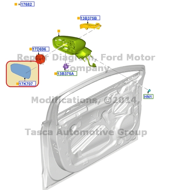 Brand New Oem Lh Drivers Side Mirror Glass 2013 2014 Ford Fusion