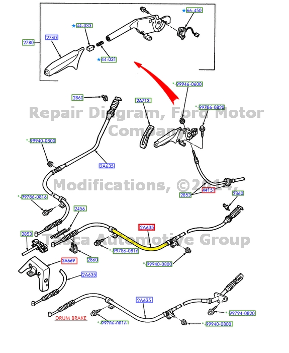 1989 Mercury Tracer Wiring Diagram: BRAND NEW OEM RH RIGHT SIDE PARKING BRAKE REAR CABLE