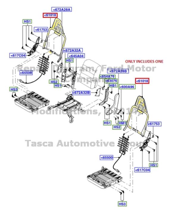 0 new oem rh front seat back frame ford f250 f350 f450 f550 super