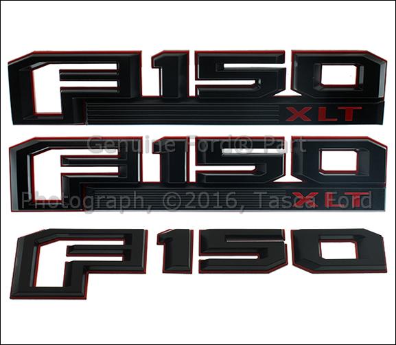 NEW OEM RED & BLACK FENDER & TAILGATE EMBLEMS COMPLETE SET 2016 FORD F150 XLT   eBay