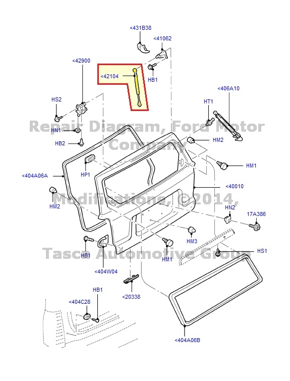 NEW OEM RH OR LH TAILGATE GAS LIFT 2001-2007 ESCAPE