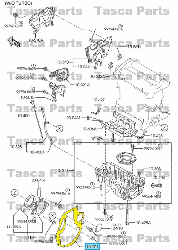 new oem engine oil pan end plate 1990-05 mazda mx5 miata w/ manual, Wiring diagram