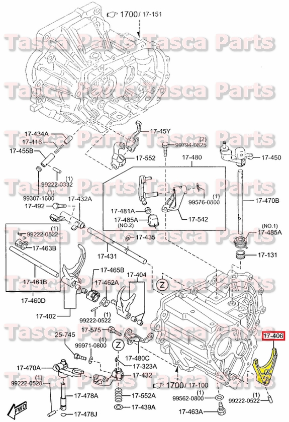 NEW OEM MANUAL TRANSMISSION 5TH & REVERSE SHIFT FORK MAZDA