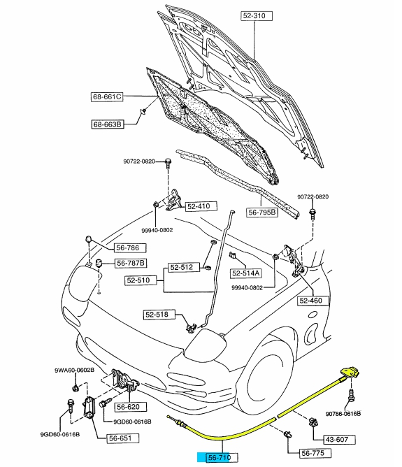 BRAND NEW OEM HOOD RELEASE CONTROL CABLE 1993-1995 MAZDA