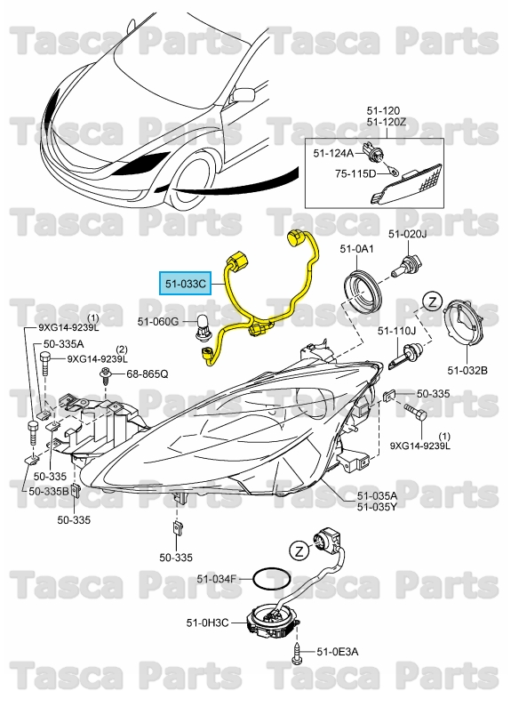 brand new genuine mazda oem headlight wiring harness  geg1