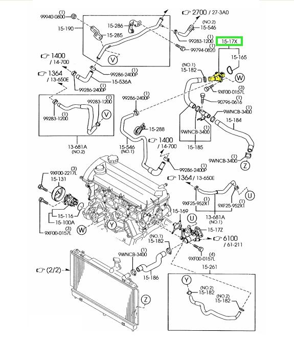 brand new oem thermostat & housing 2006-2013 mazda 2 3l/2 3l turbo/2 5l  engines