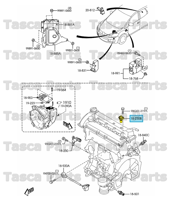 Brand New Oem Engine Camshaft Position Sensor 2 3l Mazda 3