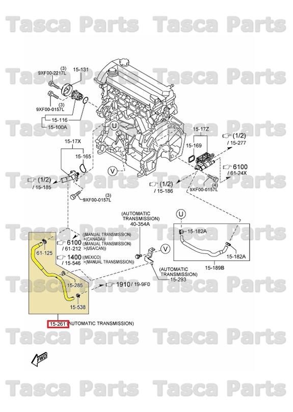 new oem engine coolant bypass hose 2010-2013 mazda 3 w/ automatic  transmission
