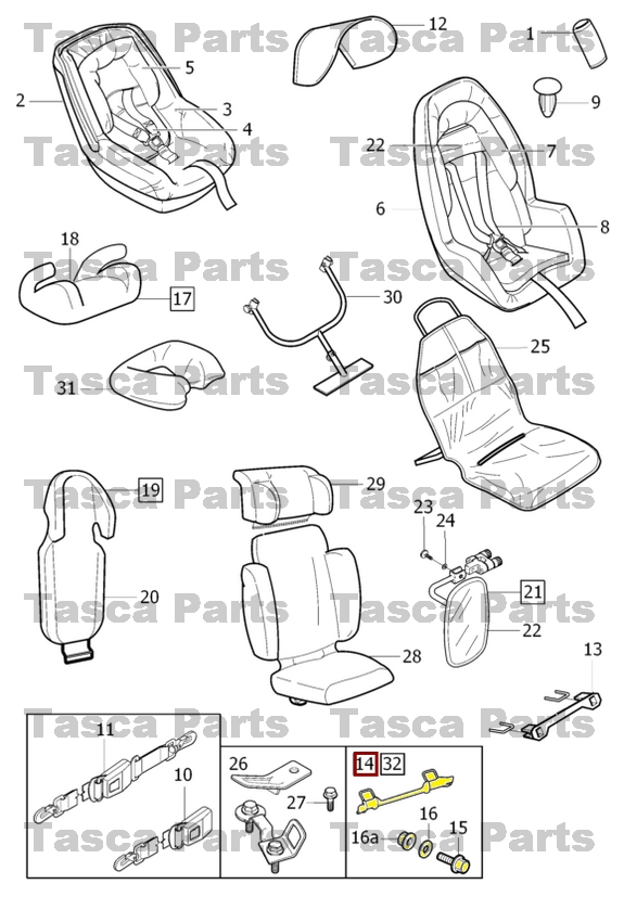 NEW OEM ISOFIX REAR CAR SEAT ANCHORAGE 1999-2010 VOLVO S60