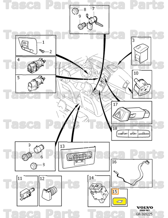 BRAND NEW OEM TRUNK RELEASE BUTTON 2008-2014 VOLVO S60 V70