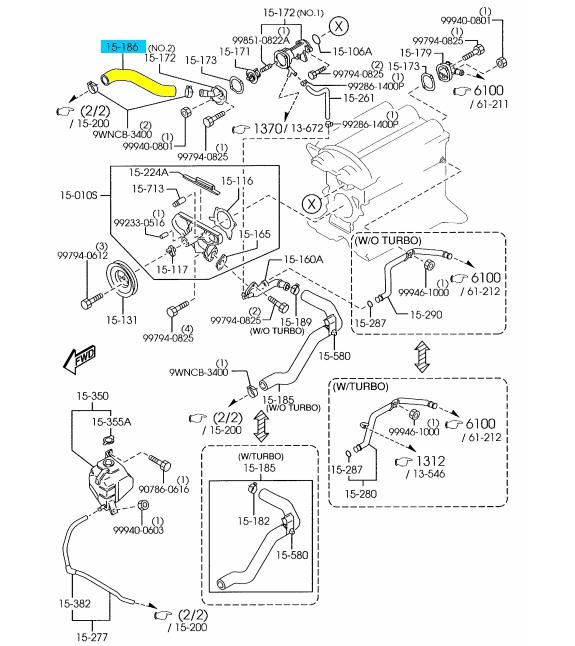 Mazda OEM 99-05 Miata Radiator-upper Hose Bp4w15186b for